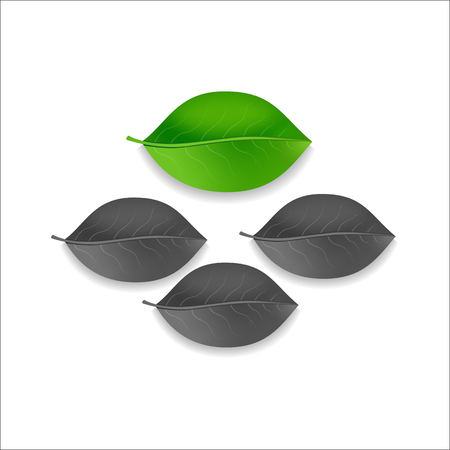 swell: three gray and one green leaf tree on a white background