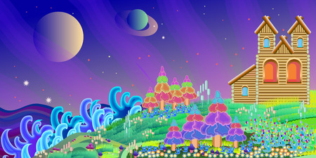 fantastical: fabulous  home on a magical planet on a white background Illustration