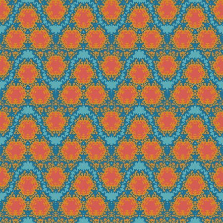 duotone: orange wave  squiggles seamless pattern on a gren blue background
