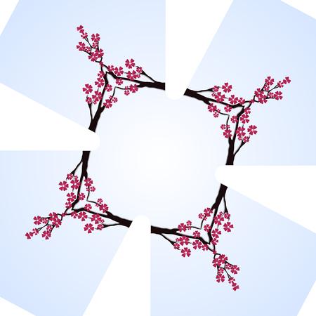 mirror frame: Sakura blossom cherry mirror cross frame on a white background
