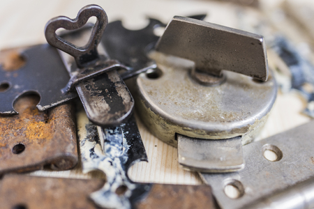 Old locks and door hinges 4 Stock Photo