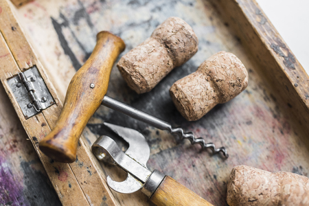 winemaking: corkscrew and vine cork 4 Stock Photo