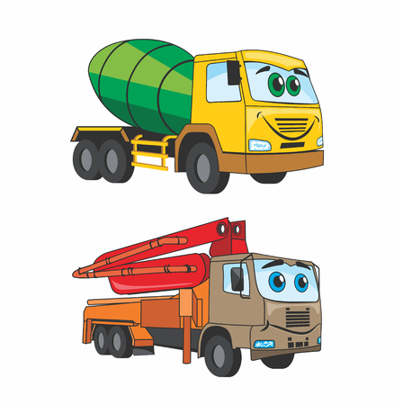 fun cartoon cars which use in building Vector