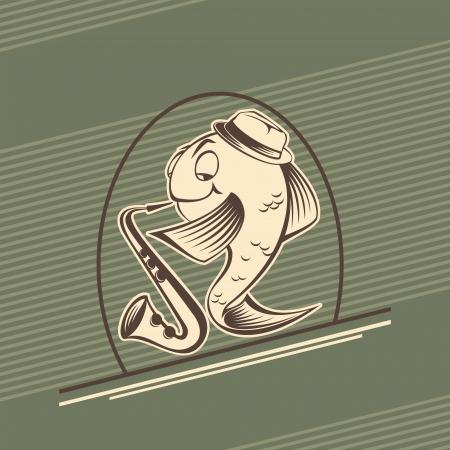 play popular: retro fish-musician play music Illustration