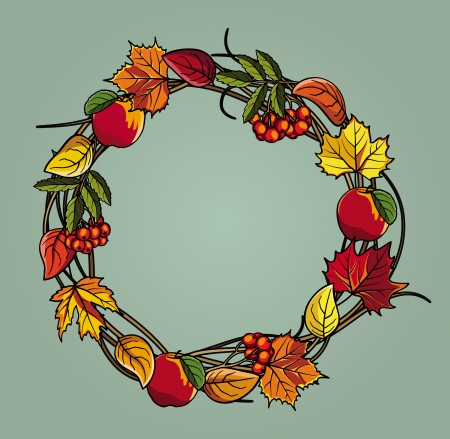 Thanksgiving wreath with leaves, apples and berries  Vector  Vector
