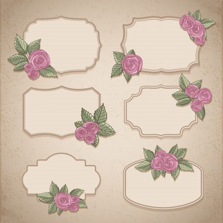 Set of vintage labels with flowers Vector