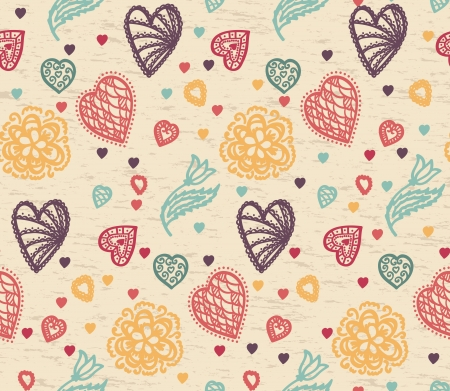 retro seamless pattern with colorful hearts and flowers Vector