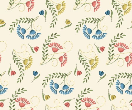 Seamless flower pattern in retro style. Vector illustration.