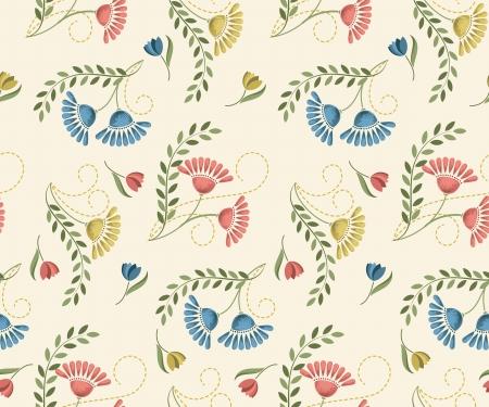 Seamless flower pattern in retro style. Vector illustration.