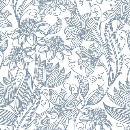 Vector flower seamless pattern background  Vintage style illustration