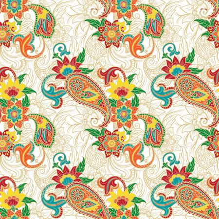 Nahtlose bunte Hintergrundmuster mit Paisley und Blumen Standard-Bild - 27506054