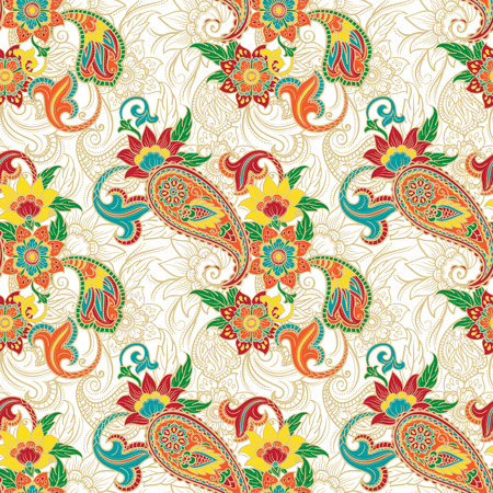 Seamless colorful background pattern with paisley and flowers
