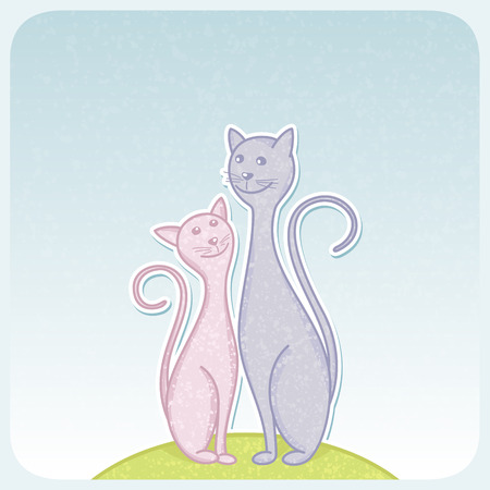 Greeting card with cute cats. Vector illustration. Vector