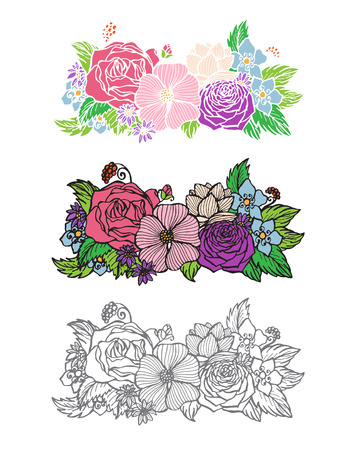 nosegay: Isolated flower brunch in white background. Vector illustration