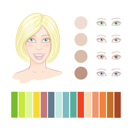 femal: Type of femal style and colors. Womens portraits. Illustration