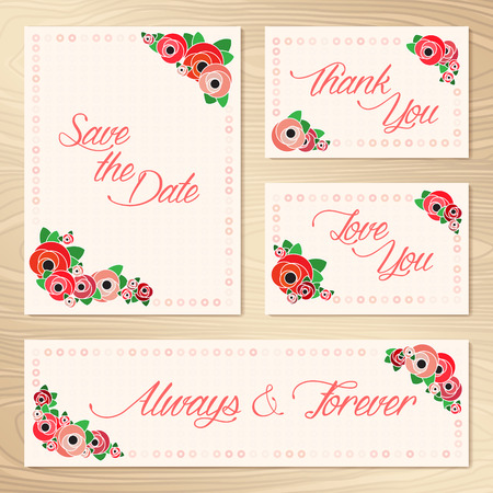 Save The Date  Set Of Wedding Invitation Cards  Ilustrace