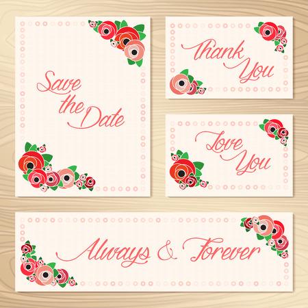 Save The Date  Set Of Wedding Invitation Cards  Illustration