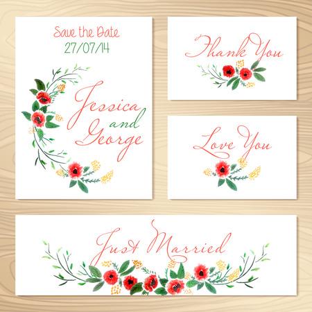 Set Of Wedding Invitations Template  Save The Date  Vector Illustration Zdjęcie Seryjne - 29861714