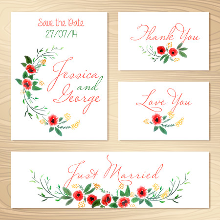 Set Of Wedding Invitations Template  Save The Date  Vector Illustration