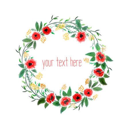 Floral Watercolor Wreath  Branch Frame  Hand Drawn Illustration  Vector  일러스트