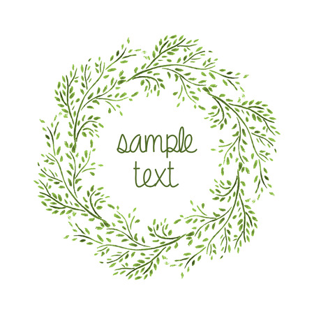Watercolor Wreath  Branch Frame  Hand Drawn Illustration  Vector
