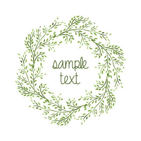 Watercolor Wreath  Branch Frame  Hand Drawn Illustration  Vector Zdjęcie Seryjne - 29861717