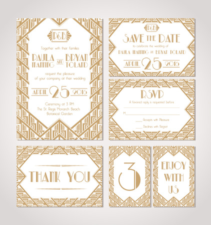 Art Deco Wedding Invitation Template  Save the Date  Vector