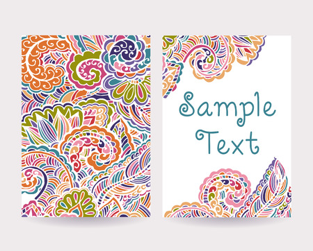 Set of abstract decorative card  Hand drawn pattern  Vector illustration