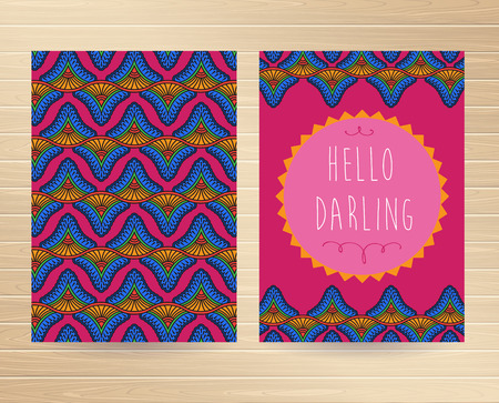 darling: Set of abstract decorative card  Hello Darling  Vector illustration  Illustration