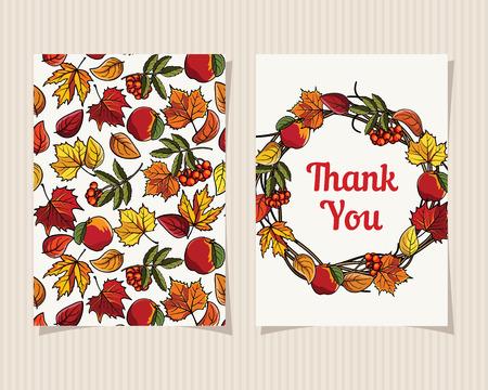 caes: Decorativo Tarjeta Con guirnalda del otoño Mejor para el Día de Acción de Gracias ilustración vectorial Saludo