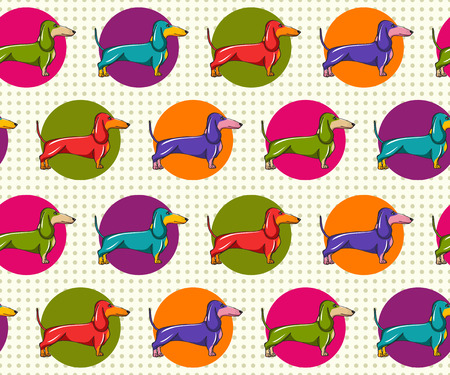 Seamles Baskground Pattern with Dachshund in Pop Art Style  Vector Illustration  Illustration