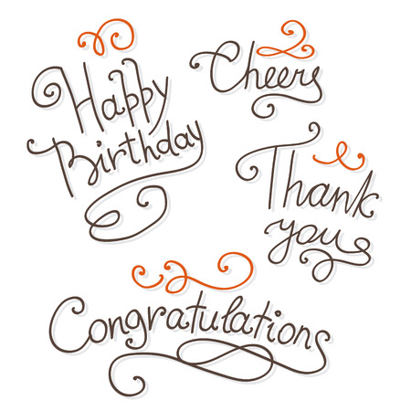 congratulations text: Set of  hand lettering handmade calligraphy for greeting cards, vector illustration Illustration