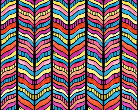 Abstract seamless watercolor tribal colorful background pattern illustration  Vector