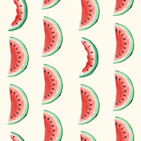 Seamless background pattern with watercolor watermelon. Vector illustration.