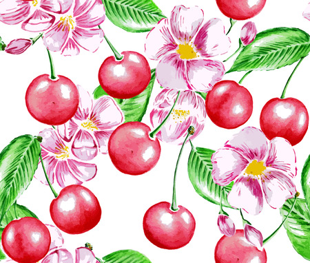 Seamless Watercolor Pattern with Cherry and Flowers.  Ilustracja