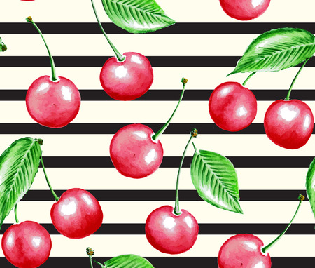 Seamless background pattern with cherry and lines in retro style.