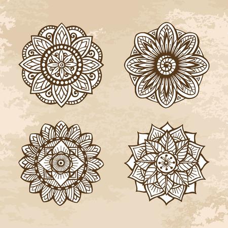 Set of ornamental circle floral mandalas. Vector