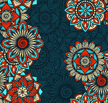 Seamless background pattern with colorful circle mandalas.  Vector