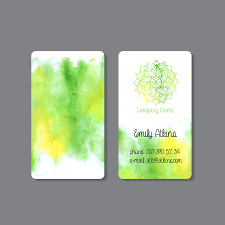 Business card template. Watercolor background. Vector illustration. Vector
