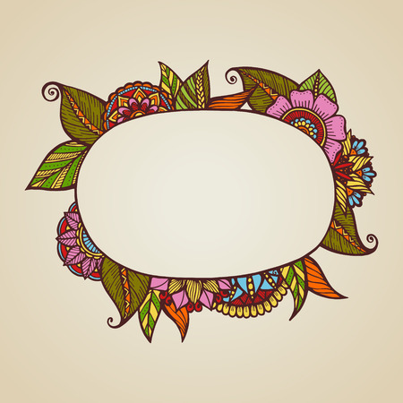 Hand drawn floral frame with place for text. Vector illustration. Ilustracja