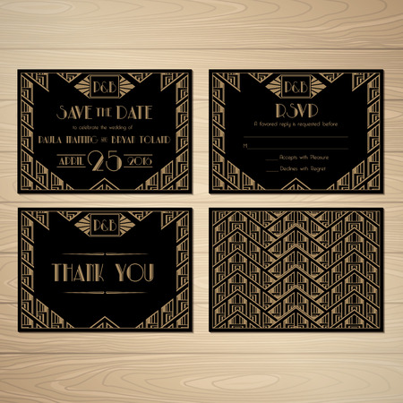 art deco border: Set of Wedding Invitation in Gatsby Style. Save the Date. Vector. Illustration