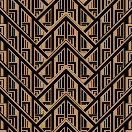 Vector Seamless Abstract Vintage Pattern. Gatsby Art Deco Style.  イラスト・ベクター素材