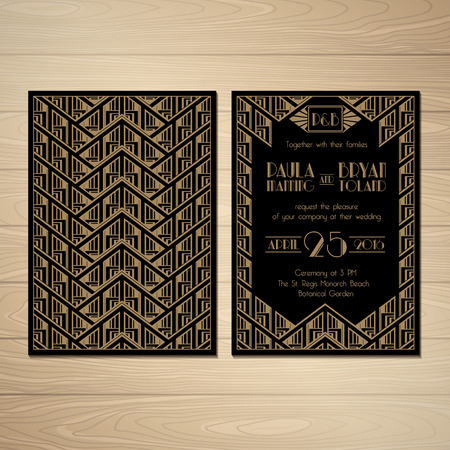 Set of Wedding Invitation in Gatsby Style. Save the Date. Vector. Illustration