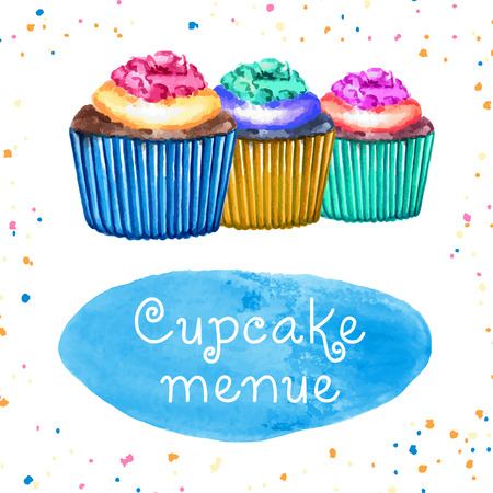 cake stand: Hand drawn watercolor cupcake with place for text. Vector illustration. Illustration