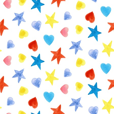 Vector colorful watercolor hand drawn seamless pattern.