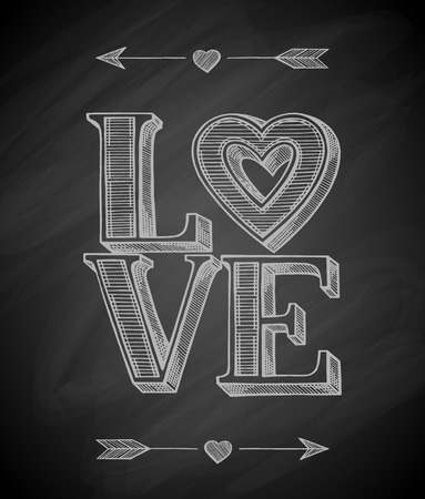 Love typographic poster. Hand drawn vector illustration.
