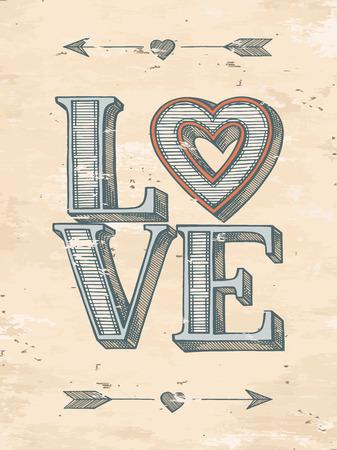 Amor cartel tipográfico. Dibujado a mano ilustración vectorial. Ilustración de vector