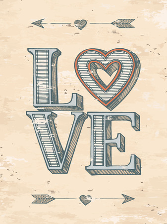 concept retro: Love typographic poster. Hand drawn vector illustration.