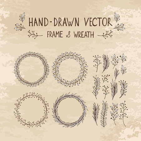 hand drawn frame: Hand drawn wreath and frame. Vector illustration