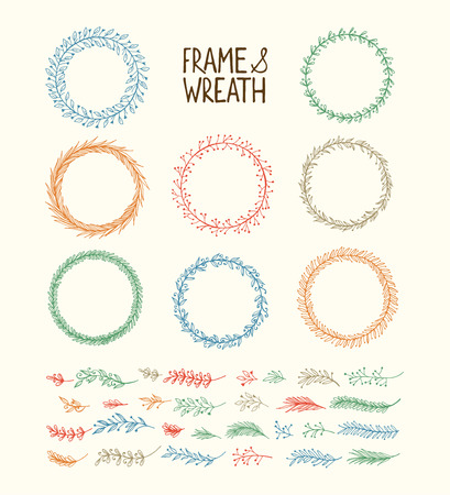 Hand drawn wreath and frame. Vector illustration